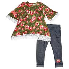 Baby Girls Ruffle Trim Floral Top With Leggings 12 24m