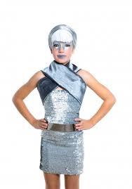 children futuristic fashion children silver makeup premium photo