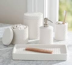 Glamorous Porcelain Basketweave Wastebasket Pottery Barn On Bathroom