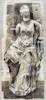 william kentridge broken sculptures and 3 distractions 2018 ink watercolour coloured