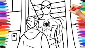 This is what you need. Spiderman Coloring Pages How To Draw Spiderman Miles Morales Checks Out Spiderman Suit Youtube