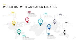 World Map With Navigation Location Powerpoint Template And