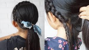 崩れない三つ編みポニーテール玉ねぎヘアの作り方スプレー