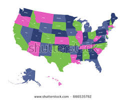 colorful usa map states capital cities stock illustration 36109075 Map Of Us With Labels political map of usa, united states of america, in four colors with white state map of usa with labels