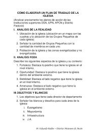 C Mo Elaborar Un Plan De Trabajo De La Iglesia1 Plan De Trabajo Anual De Una Iglesia Evangelica