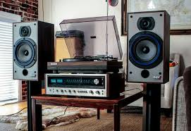 sound system with turntable. vintage audio hi fi stereo turntable speakers sound system with t