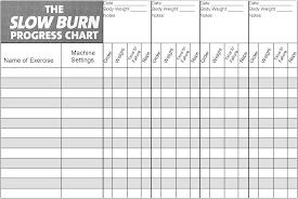 Fitness Program Chart Slow Burn Workout Progress Chart Slow Burn Workout