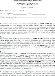 Photography Contract Template Free Photography Contract Template