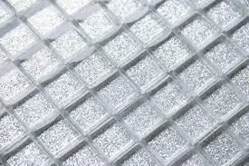 glitter silver glass mosaic tiles