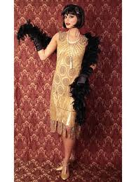 1920s Fashion 1920s Replica Gold Beaded Flapper Dress