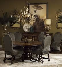 brown dining room set with gorgeous wooden side board and round dining table under wrought iron