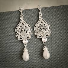 grace vintage inspired wedding bridal earrings white ivory pearl and rhinestone chandelier wedding earrings hollywood glamour jewelry