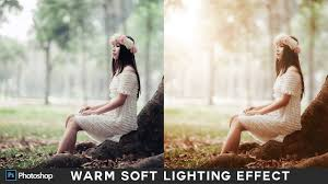 how to create sunset warm lighting effect in photo photo editing tutorial