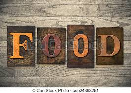 the word food written in food. Unique Word Food Concept Wooden Letterpress Type  Csp24383251 On The Word Written In H