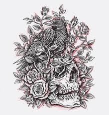 Vektorová Grafika útržkovité Crow Růže A Lebka Tetování Design