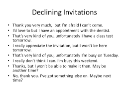 social interactions inviting & responding to invitations ppt Declining A Wedding Invitation Declining A Wedding Invitation #13 declining a wedding invitation etiquette