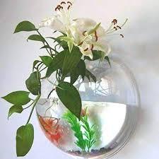 fish bowl vase creative acrylic hanging wall mount tank aquarium plant pot bubble large uk silver
