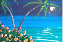 Easy Painting Easy Meditation Tropical Seascape Acrylic Painting Lesson Youtube
