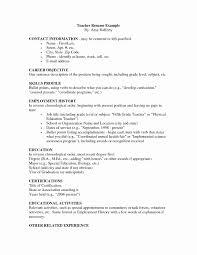 Resume Format For Primary Teachers Luxury Sample Teacher Resume