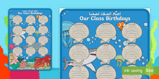Under The Sea Birthday Chart Under The Sea Themed Our Class Birthday Chart Display Poster