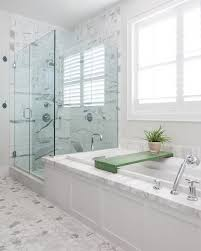 chic frameless glass shower doors in beach style orange county with white and gray granite next