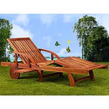 wooden folding sun lounger extendable tray deck chair recliner tami acacia wood