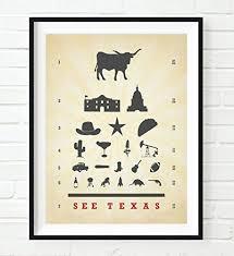 See Texas Eye Chart Art Print Unframed Longhorn Cowboy