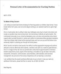 Recommendation Letter Teaching Position Sample Letter Of Recommendation For Teaching Position 6