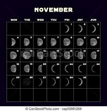 Moon Phases Calendar For 2019 With Realistic Moon November Vector
