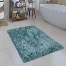 Badezimmer Teppich Shaggy Einfarbig Türkis Teppichcenter24