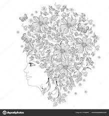 夏の花と蝶 塗り絵の女性 ストックベクター Oksana 177383802