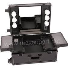 studio makeup case with lights mirror black