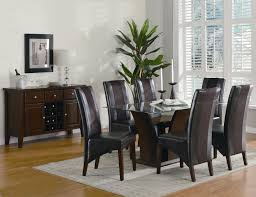dark wood dining room chairs. Black And Brown Dining Room Sets New Decoration Ideas Solid Wood Table Glass With Base Combined Leather Chairs Dark