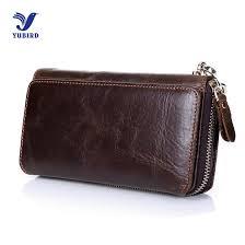 fashion vintage wallet men luxury brand clutch wallets genuine cowhide leather zipper purse handy bag long big wrist wallet nice wallets custom leather
