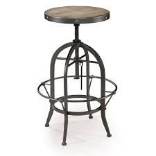 metal bar stools with wood seat. Round Black Metal Bar Stool With Brown Wood Seat And Footrest Stools