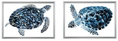ask question about set of two indigo sea turtle wall art