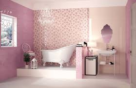 Bathroom:Modern Small Pink Bathroom With White Bathtub And Sink Idea Unique  Pink Color Decoration
