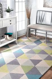 handmade modern geometric wool area rug green