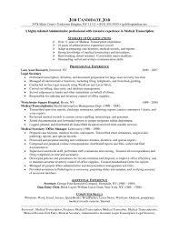 Medical Transcription Resume Samples Resume Peppapp