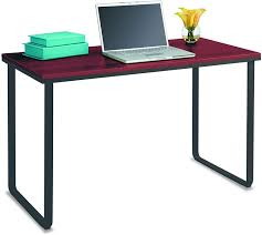 Computer Desk Simple Design Safco Products Simple Design Table Desk With Sled Base Cherry Black