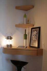 Corner Wall Shelf Ikea : Gorgeous Home Interior Design Idea With Light  Brown Floating Corner Desk ...