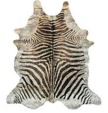 cowhide rug zebra with metallic splash