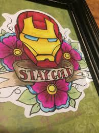 Original Framed Marvel Avengers Iron Man Tony Stark Ink Drawing Sailor Jerry Tattoo 5x7 Illustration