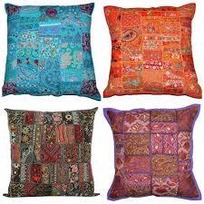 Home, Furniture & DIY Indian <b>Mirror</b> Work Embroidered Decor <b>16</b> ...
