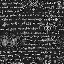 Physical vector seamless pattern with formulas, equations and figures,  handwritten on a blackboard seamless