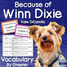 Because Of Winn Dixie Vocabulary By Chapter Elementary Ela