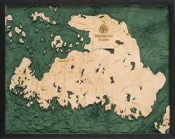 Drummond Island 3 D Nautical Wood Chart 24 5 X 31