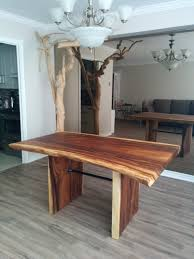 Metal And Wood Kitchen Table Custom Live Edge Suar Wood Dining Table Features Industrial