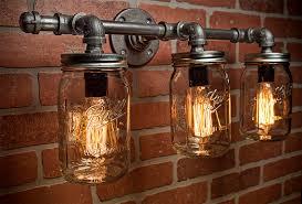 unique rustic lighting. mason jar light pipe vanity edison rustic unique lighting h