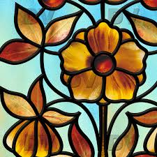 vit80 art deco flower stained glass effect sticker